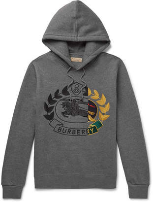 Burberry Logo-Embroidered Mélange Fleece-Back Cotton-Blend Jersey Hoodie