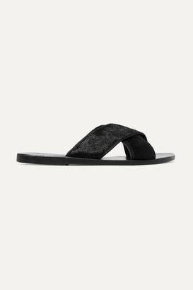 Ancient Greek Sandals Thais Calf Hair Slides - Black