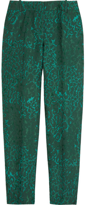 J.Crew Café animal-jacquard Capri pants