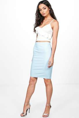 boohoo Leather Look Midi Skirt
