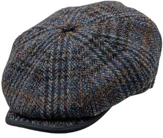 Sterkowski Harris Tweed 8 Panel Gatsby Classic Flat Cap US 7 1/4 Blue Check