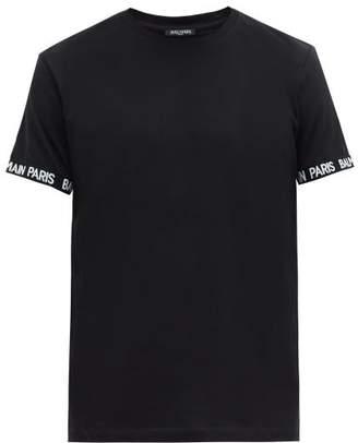 Balmain Logo Cuff Cotton Jersey T Shirt - Mens - Black