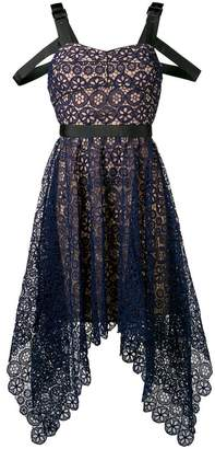 Self-Portrait asymmetric circle floral lace dress