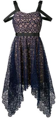 Self-Portrait asymmetric circle floral lace dress