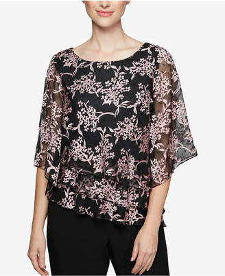 Alex Evenings Textured Tiered Chiffon Blouse
