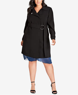 City Chic Trendy Plus Size Wrap Trench Coat