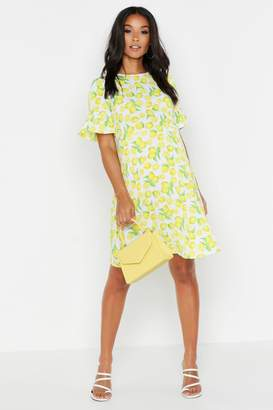boohoo Maternity Lemon Print Smock Dress