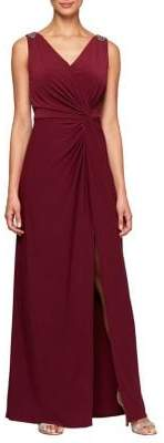 Alex Evenings Embellished Knot-Front Slit Dress