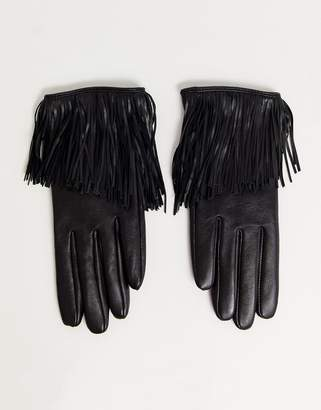Asos Design DESIGN leather touch screen gloves with fringing in black