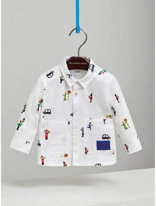 Burberry People Embroidered Cotton Shirt