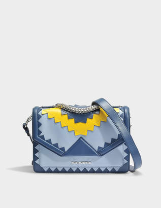 Karl Lagerfeld K/Klassik Zig Zag Shoulder Bag in Mystic Blue Calfskin