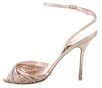Christian Louboutin Metallic Wrap-Around Sandals Rose Metallic Wrap-Around Sandals
