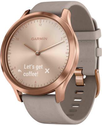 Garmin Unisex vivomove Hr Premium Gray Suede & Silicone Strap Hybrid Touchscreen Smart Watch 43mm