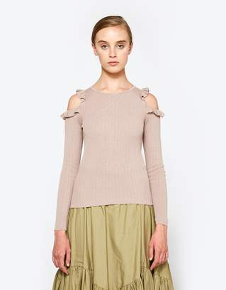 Farrow Charlie Ruffle Sweater in Mocha