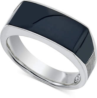 Esquire Men's Jewelry Onyx (24 x 8 x 3mm) Ring in Sterling Silver, Only at Macy's $475 thestylecure.com