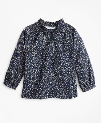 Brooks Brothers Girls Floral Peasant Blouse