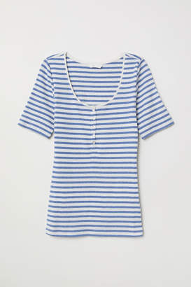 H&M Ribbed Jersey Top - Blue