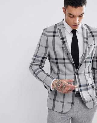 Asos DESIGN Skinny Blazer In Light Gray Oversized Check