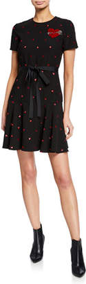 RED Valentino Sequin Heart Short-Sleeve Dress with Embroidered Heart Patch