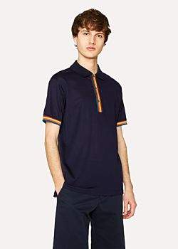 Paul Smith Men's Slim-Fit Navy Cotton-Piqué Polo Shirt With 'Artist Stripe' Details