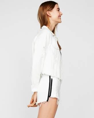 Express High Waisted Side Stripe Raw Hem Denim Shorts