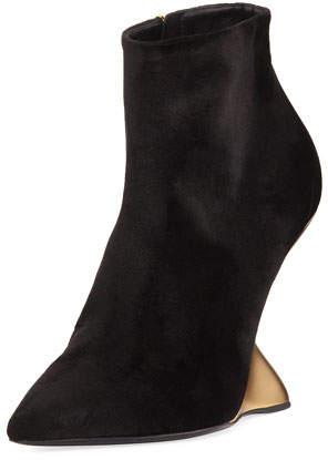 Salvatore Ferragamo Velvet Bootie with Golden Wedge Heel, Nero