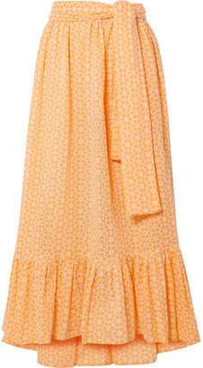 Lisa Marie Fernandez Nicole Broderie Anglaise Cotton Maxi Skirt - Pastel orange