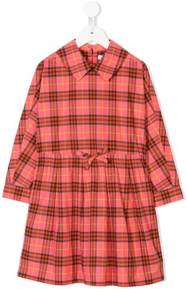 Burberry checked bow detail dress