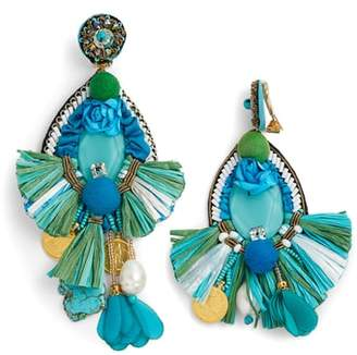 Ranjana Khan Bluejay Tassel Earrings