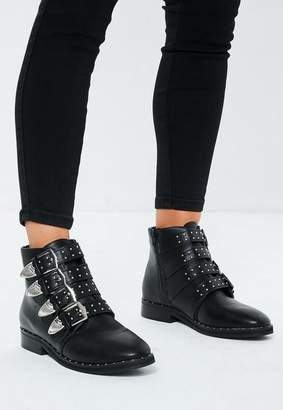 Missguided Black Western Buckle Boots