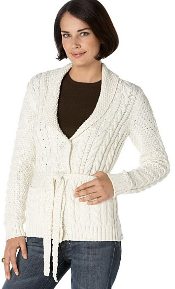 Charter Club Belted Cable Cardigan