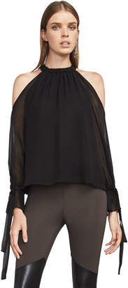 BCBGMAXAZRIA Fatima Cold-Shoulder Halter Top