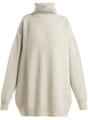 Raey Displaced Sleeve Ribbed Roll Neck Wool Sweater - Womens - Grey