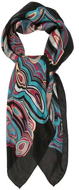 Missoni Accessories Black and Turquoise Marble Scarf