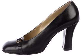 Gianni Versace Leather Square-Toe Pumps