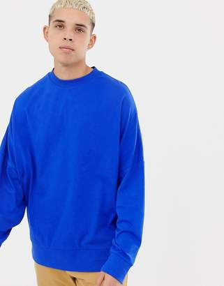 Collusion COLLUSION long sleeve dropped shoulder t-shirt in cobalt blue