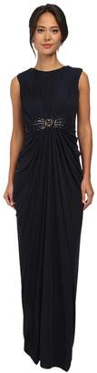 Adrianna Papell Cap Sleeve Stretch Tulle Gown Women's Dress