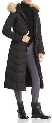 T Tahari Jacqueline Faux Fur Trim Maxi Puffer Coat