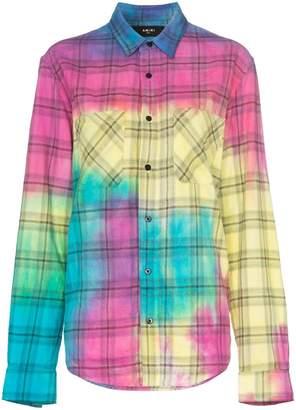 Amiri rainbow tie-dye plaid shirt