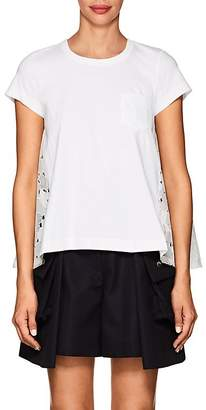Sacai Women's Heart-Embroidered-Back Cotton T-Shirt