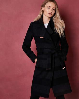 Ted Baker NARRLA Stripe midi wrap coat