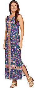 C. Wonder Petite Knit Engineered Floral PrintMaxi Dress