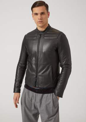 Emporio Armani Nappa Leather Biker Jacket With Padded Shoulders And Elbows