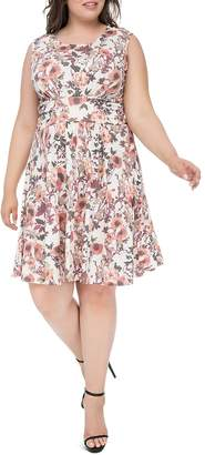 Bobeau B Collection by Curvy Skye Floral-Print Fit-and-Flare Dress