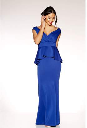 Quiz Royal Blue Wrap Front Peplum Maxi Dress