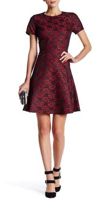 Betsey Johnson Flocked Lace Fit & Flare Dress