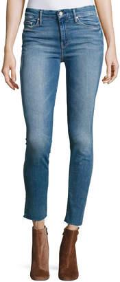 Mother Looker Ankle Fray Denim Jeans, Blue