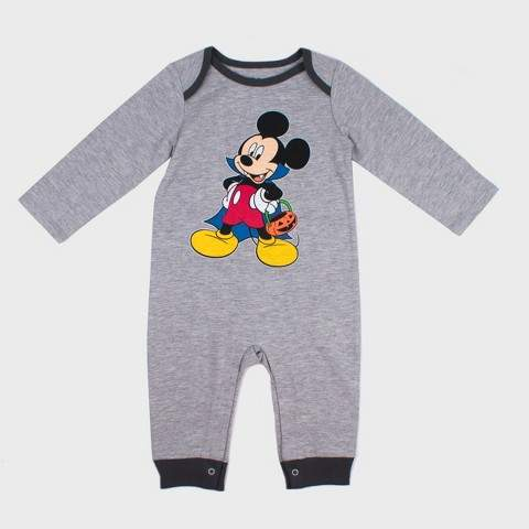 Disney Baby Boys' Disney Mickey Mouse & Friends Mickey Mouse Long Sleeve Romper - Gray