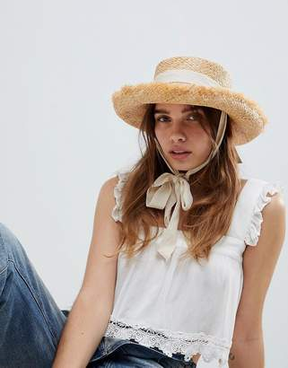 Asos DESIGN Natural Raw Edge Straw Hat With Chin Tie And Size Adjuster