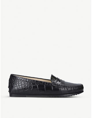 Tod's Tods City Gommino crocodile-embossed leather loafers